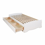 Mate's Twin Size Platform Storage Bed with 3 Drawer Storage - White [WBT-4100-2K-FS-PP]