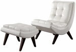 White Vinyl Tufted Occasional Chair & Ottoman [876S651S-3A-FS-HOM]