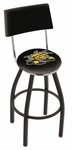 Wichita State University 25'' Black Wrinkle Finish Swivel Counter Height Stool with Cushioned Back [L8B425WICHST-FS-HOB]