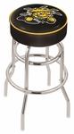 Wichita State University 25'' Chrome Finish Double Ring Swivel Backless Counter Height Stool with 4'' Thick Seat [L7C125WICHST-FS-HOB]