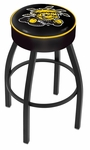 Wichita State University 25'' Black Wrinkle Finish Swivel Backless Counter Height Stool with 4'' Thick Seat [L8B125WICHST-FS-HOB]