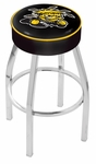 Wichita State University 25'' Chrome Finish Swivel Backless Counter Height Stool with 4'' Thick Seat [L8C125WICHST-FS-HOB]