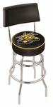 Wichita State University 25'' Chrome Finish Swivel Counter Height Stool with Double Ring Base [L7C425WICHST-FS-HOB]
