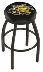 Wichita State University 25'' Black Wrinkle Finish Swivel Backless Counter Height Stool with Accent Ring [L8B2B25WICHST-FS-HOB]