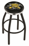 Wichita State University 25'' Black Wrinkle Finish Swivel Backless Counter Height Stool with Chrome Accent Ring [L8B2C25WICHST-FS-HOB]