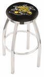Wichita State University 25'' Chrome Finish Swivel Backless Counter Height Stool with Accent Ring [L8C2C25WICHST-FS-HOB]