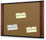 Wide Screen Graphite Blend Colored Cork Board w/Mahogany Finish Aluminum Frame 36''W x 24''H [C3624MY-FS-TM]