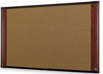 Wide Screen Graphite Blend Colored Cork Board w/Mahogany Finish Aluminum Frame 72''W x 48''H [C7248MY-FS-TM]