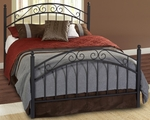 Willow Contemporary Metal Bed Set with Rails - Full - Textured black [1140BFR-FS-HILL]