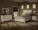 Wilshire 4 Piece Solid Wood Bedroom Group Includes Panel Bed, Nightstand, Dresser, and Mirror - Queen - Antique White [1172573BQRSET4-FS-HILL]