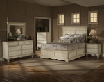 Wilshire 4 Solid Piece Wood Bedroom Group Includes Panel Storage Bed, Nightstand, Dresser, and Mirror - Queen - Antique White [1172STGBQRSET4-FS-HILL]
