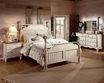 Wilshire 4 Piece Solid Wood Bedroom Group Includes Post Bed, Nightstand, Dresser, and Mirror - Queen - Antique White [1172570QS4-FS-HILL]