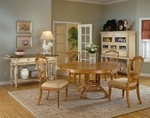 Wilshire 7 Piece Dining Set with Round Extension Table and 6 Side Chairs - Antique Pine [4507DTBRNDC7-FS-HILL]
