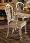 Wilshire Wood 19''H Dining Arm Chair with Upholstered Seat - Set of 2 -Antique White [4508-805-FS-HILL]