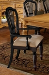 Wilshire Wood 19''H Dining Arm Chair with Upholstered Seat - Set of 2 - Rubbed Black [4509-805-FS-HILL]
