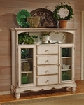 Wilshire Wood 63.72''W x 67.5''H Baker's Cabinet with 4 Drawers - Antique White [4508-854-FS-HILL]