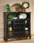 Wilshire Wood 63.72''W x 60.5''H Baker's Cabinet with 4 Drawers - Rubbed Black [4509-854-FS-HILL]