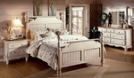 Wilshire Solid Wood Post Bed Set with Rails - King - Antique White [1172BKR-FS-HILL]