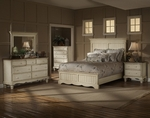 Wilshire 4 Piece Solid Wood Bedroom Group Includes Panel Bed, Nightstand, Dresser, and Mirror - King - Antique White [1172673BKRSET4-FS-HILL]