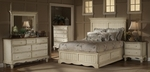 Wilshire 4 Piece Solid Wood Bedroom Group Includes Panel Storage Bed, Nightstand, Dresser, and Mirror - King - Antique White [1172STGBKRSET4-FS-HILL]
