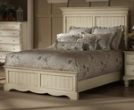 Wilshire Solid Wood Panel Bed Set with Rails - Queen - Antique White [1172573BQR-FS-HILL]