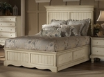 Wilshire Solid Wood Storage Bed Set with Rails and Storage Base - Queen - Antique White [1172STGBQR-FS-HILL]