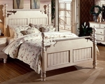 Wilshire Solid Wood Post Bed Set with Rails - Queen - Antique White [1172BQR-FS-HILL]