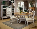 Wilshire Wood 74'' Diameter Round and Oval Dining Table with Extension Leaves - Antique White [4508DTBRND-FS-HILL]