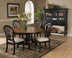 Wilshire Wood 74'' Diameter Round Dining Table with Extension Leaf - Rubbed Black [4509DTBRND-FS-HILL]