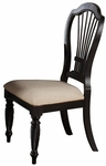 Wilshire Wood 19''H Dining Side Chair with Upholstered Seat - Set of 2 - Rubbed Black [4509-802-FS-HILL]