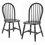 Windsor Chairs with Carved Legs in Black-Set of 2 [29237-FS-WWT]
