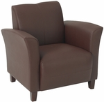 OSP Furniture Eco Leather Club Chair with Cherry Finish Legs - Wine [SL2271EC6-FS-OS]