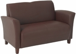 OSP Furniture Eco Leather Breeze Loveseat with Cherry Finish Legs - Wine [SL2272EC6-FS-OS]