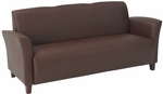 OSP Furniture Eco Leather Breeze Sofa with Cherry Finish Legs - Wine [SL2273EC6-FS-OS]