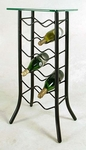 Wrought Iron 15''W x 32''H 12 Bottle Wine Rack with Tempered Glass Top [GMC-WN12GL-FS-GCM]
