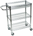 Stainless Steel Wire 32''H Transport Cart with Adjustable Shelves [LICWT3014-FS-LUX]