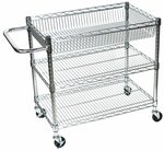 Stainless Steel Wire 30''H Transport Cart with Adjustable Shelves [LICWT2918-FS-LUX]