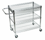3 Adjustable Shelf Large Wire Tub Transport Cart - 30''W x 18''D x 30''H [LICWT2918-FS-LUX]
