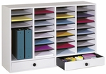 Adjustable Wooden Literature Organizer with Thirty-Two Compartments and Two Drawers - Gray [9494GR-SAF]