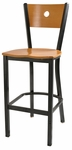 Wood Moon Back Barstool with Metal Frame [6149B-HND]