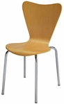 Wood Cafe Stack Chair in Natural with Chrome Frame [3888-NA-IFK]