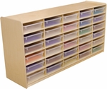 Storage Unit with (30) 3'' Letter Tray Slots and Translucent Trays - Fully Assembled on Casters - 58''W x 15''D x 30''H [17561-WDD]