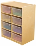 Storage Unit with (8) 5'' Letter Tray Slots and Translucent Trays - Fully Assembled on Casters - 24''W x 15''D x 30''H [18241-WDD]