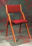 Stained Red Oak 19.5'' x 21'' Folding Chair with Upholstered Seat [T-380-TRN]