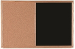 Wood Frame Combination Board with Natural Pebble Grain Cork Bulletin Board and Black Chalkboard - 24''H x 36''W [CO2436B-AA]