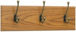 Three Hook 18'' W x 3.25'' D x 6.75'' H Wood Wall Rack - Set of Six - Medium Oak [4216MO-FS-SAF]