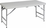 Work Smart 4' Light Weight Fold in Half Resin Multi Purpose Table with Height Adjustment [BT04FA-OS]