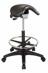 Work Smart Backless Vinyl Stool with Saddle Seat and Seat Angle Adjustment - Black [ST205-FS-OS]