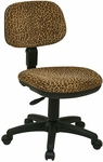 Work Smart Basic Armless Task Chair with Seat Height Adjustment and Casters - Bobcat Print [SC117-245-FS-OS]