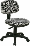 Work Smart Basic Armless Task Chair with Seat Height Adjustment and Casters - Zebra Print [SC117-237-FS-OS]